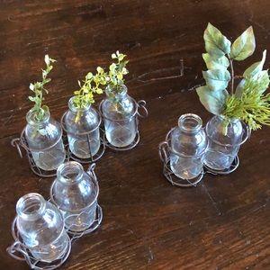 Set of 3 Chicken wire glass bud vases